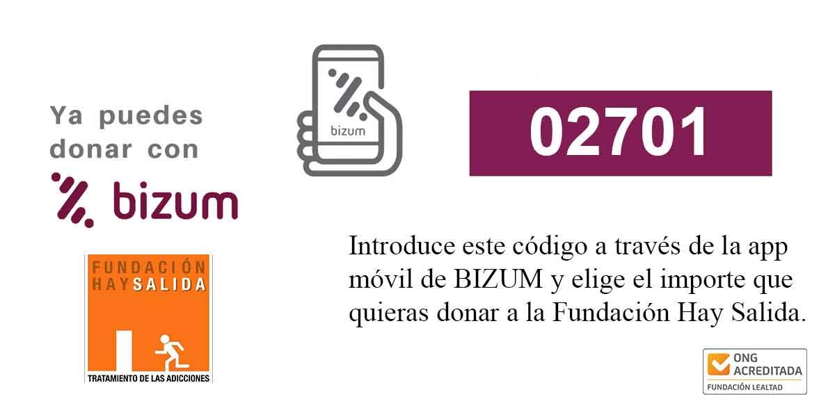 fundación hay salida: donar con bizum al 02701